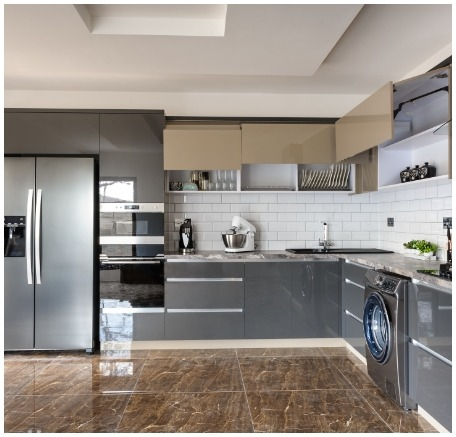 luxury modern white beige grey kitchen