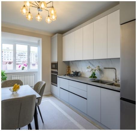 modern gray white kitchen interior